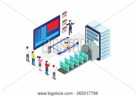 Modern Isometric Content Production Illustration, Web Banners, Suitable For Diagrams, Infographics,
