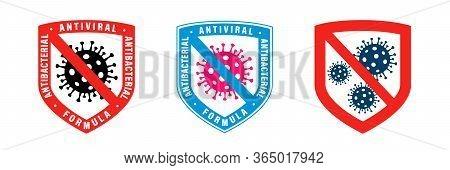 Antiviral Antibacterial Coronavirus Formula Vector Shield Icons. Coronavirus 2019-ncov, Covid-19 Ncp