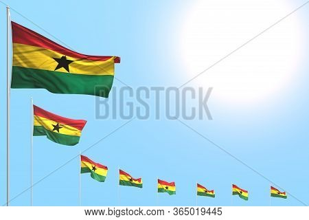 Nice Many Ghana Flags Placed Diagonal On Blue Sky With Place For Content - Any Celebration Flag 3d I