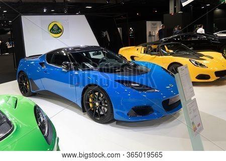 Paris, Ile De France / France - October 07 2018 : Mondial Paris Motor Show Lotus Exige Sport 410
