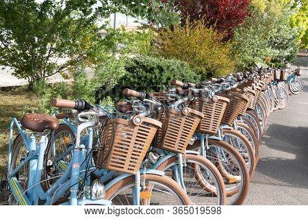 Saint Martin En Re - Ile De Re  Nouvelle Aquitaine / France - 05 04 2019 : Parking Bicycle For Rent