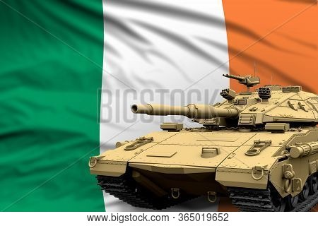 Heavy Tank With Fictional Design On Ireland Flag Background - Modern Tank Army Forces Concept, Milit
