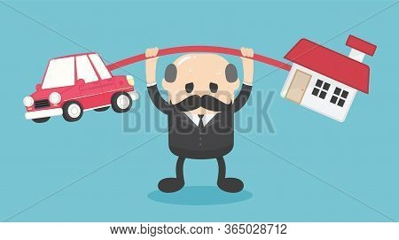 Concept Cartoon Illustration Elderly Businessmen Who Shows A Weary Expression Of The Burden Of Both