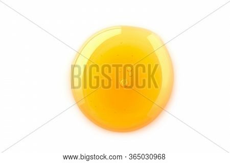 Macro One Honey Drops Isolated On White Background, File Contains A Clipping Path.