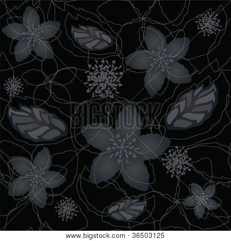 Seamless black background and silver flowers and leaves wallpaper pattern
