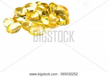 Fish Oil Supplement Capsule Isolated On White Background
