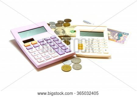 Purple Calculator And White Calculator With Money On White Background