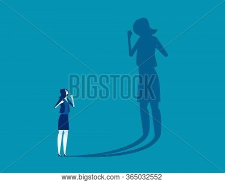 Person Fighting His Own Shadow. Self-defeating Concept, Effort