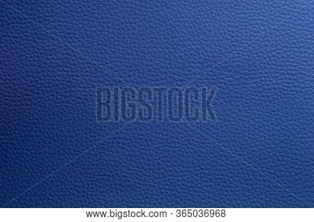 Artificial Soft Blue Leather. Faux Leather Texture Close-up.