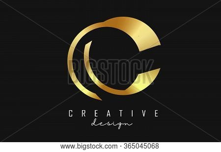 Golden C Letter Logo Monogram Design With Golden Lines And Shapes. Graphic Gold C Icon. Creative C V