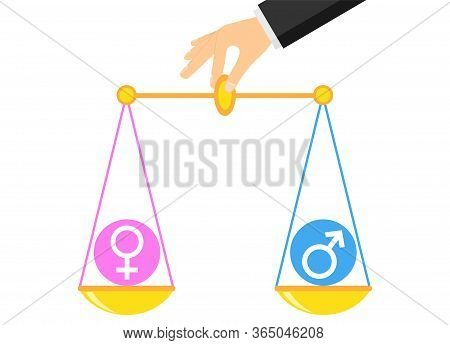 Gender Equality. Hand Holds Scales With A Balance Of Gender Equality. Vector Illustration. Vector.