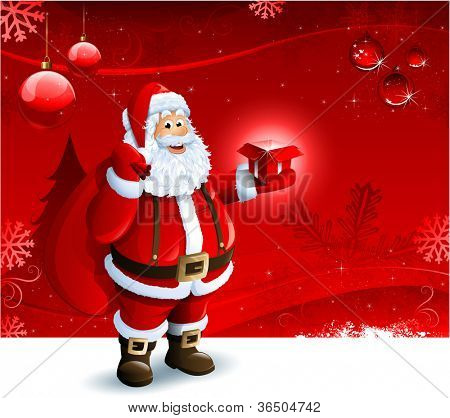 Santa Claus holding a gift box on red Christmas ornament background