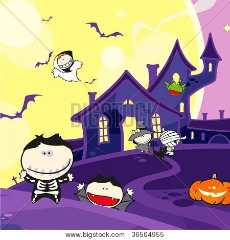 Cute Halloween creatures and a scary house