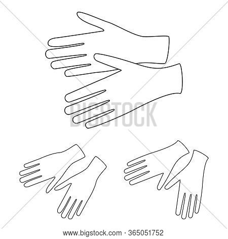 Gloves Sketch On White. Vector Linear Gloves As A Symbol Of Hands Protection Against Viruses And Bac