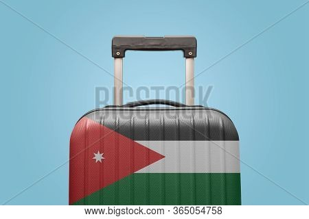 Suitcase With Jordanian Flag Design Travel Asia Concept.