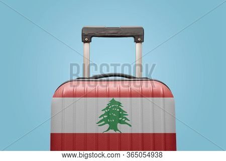 Suitcase With Lebanese Flag Design Travel Asia Concept.