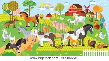 Farm Animals Vector Cartoon Illustration In Flat Style. Vector Horizontal Set Of Funny Cute Animals