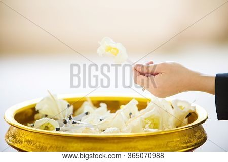 Funeral Wood Flower In Funeral Buddhism. Artificial Flowers For Guests In The Funeral Of Buddhism. I