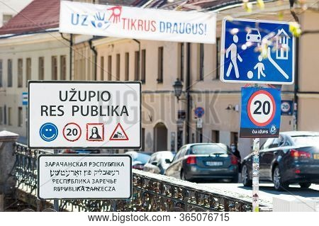 Vilnius, Lithuania - April 30 2020: Republic Of Uzupis, A Neighbourhood In Vilnius, The Capital Of L