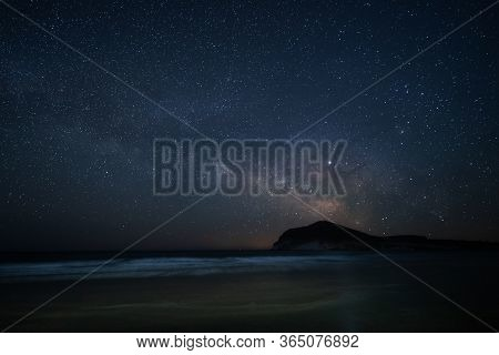 Night Landscape With Milky Way From Genoveses Beach. Natural Park Cabo De Gata. Andalusia. Spain.