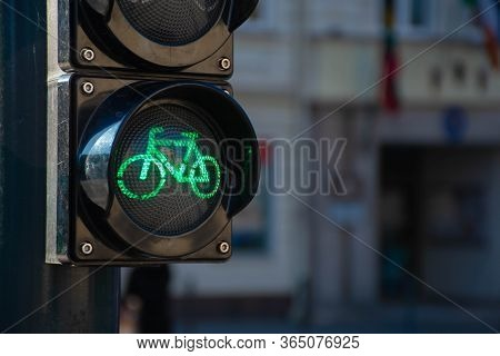 Sustainable Transport. Bicycle Traffic Signal, Green Light, Road Bike, Free Bike Zone Or Area, Bike
