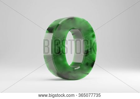 Jade 3d Number 0. Jade Number Isolated On White Background. Green Jade Semitransparent Stone Alphabe