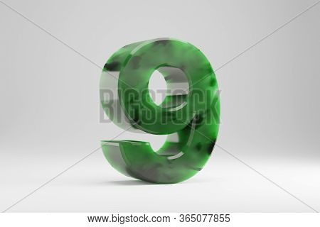 Jade 3d Number 9. Jade Number Isolated On White Background. Green Jade Semitransparent Stone Alphabe