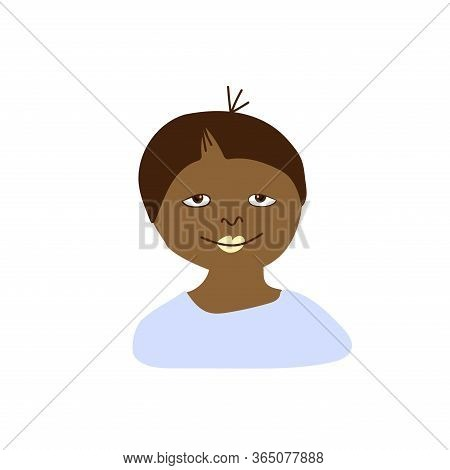 Vector Portrait Of A Little Boy In Flat Style. Illustration Of A Child Of African Race Appearance By