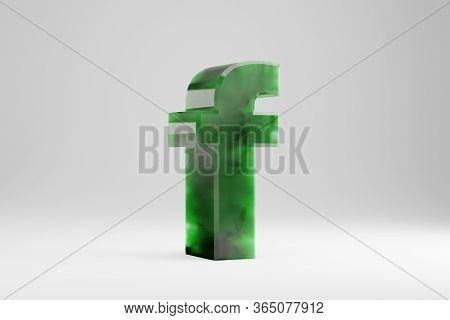 Jade 3d Letter F Lowercase. Jade Letter Isolated On White Background. Green Jade Semitransparent Sto