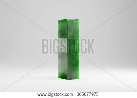 Jade 3d Letter L Lowercase. Jade Letter Isolated On White Background. Green Jade Semitransparent Sto