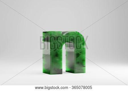 Jade 3d Letter N Lowercase. Jade Letter Isolated On White Background. Green Jade Semitransparent Sto