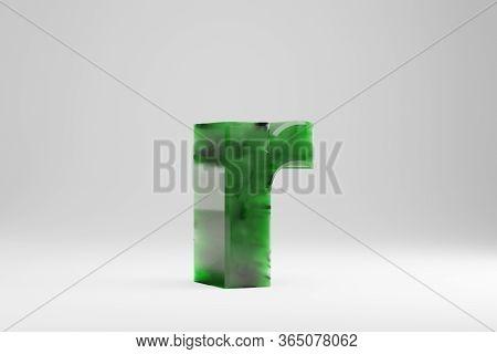 Jade 3d Letter R Lowercase. Jade Letter Isolated On White Background. Green Jade Semitransparent Sto