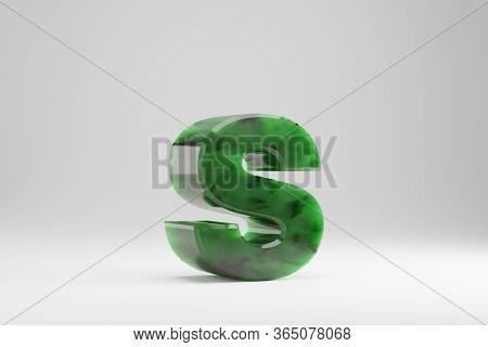 Jade 3d Letter S Lowercase. Jade Letter Isolated On White Background. Green Jade Semitransparent Sto
