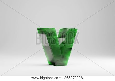 Jade 3d Letter V Lowercase. Jade Letter Isolated On White Background. Green Jade Semitransparent Sto
