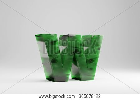Jade 3d Letter W Lowercase. Jade Letter Isolated On White Background. Green Jade Semitransparent Sto
