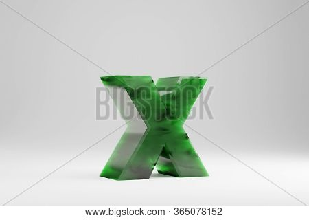 Jade 3d Letter X Lowercase. Jade Letter Isolated On White Background. Green Jade Semitransparent Sto