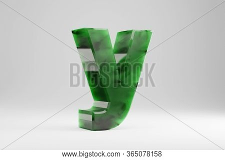 Jade 3d Letter Y Lowercase. Jade Letter Isolated On White Background. Green Jade Semitransparent Sto