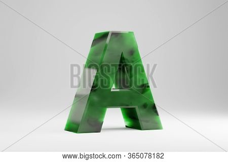 Jade 3d Letter A Uppercase. Jade Letter Isolated On White Background. Green Jade Semitransparent Sto