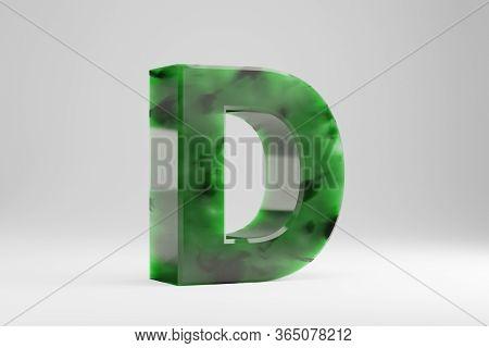 Jade 3d Letter D Uppercase. Jade Letter Isolated On White Background. Green Jade Semitransparent Sto