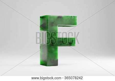 Jade 3d Letter F Uppercase. Jade Letter Isolated On White Background. Green Jade Semitransparent Sto