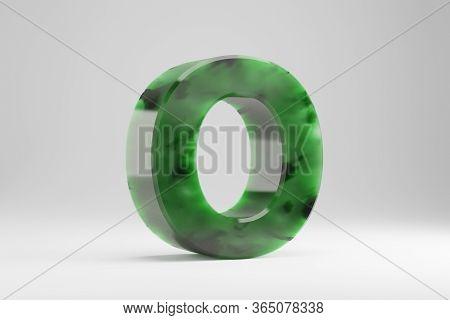 Jade 3d Letter O Uppercase. Jade Letter Isolated On White Background. Green Jade Semitransparent Sto