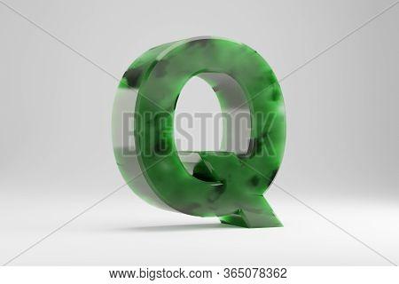 Jade 3d Letter Q Uppercase. Jade Letter Isolated On White Background. Green Jade Semitransparent Sto