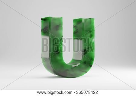 Jade 3d Letter U Uppercase. Jade Letter Isolated On White Background. Green Jade Semitransparent Sto