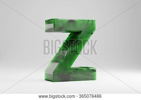 Jade 3d Letter Z Uppercase. Jade Letter Isolated On White Background. Green Jade Semitransparent Sto