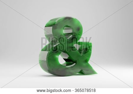 Jade 3d Ampersand Symbol. Jade Sign Isolated On White Background. Green Jade Semitransparent Stone A