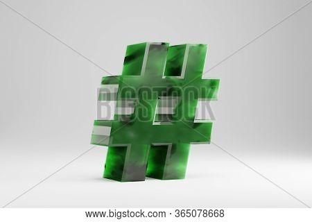 Jade 3d Hashtag Symbol. Jade Sign Isolated On White Background. Green Jade Semitransparent Stone Alp