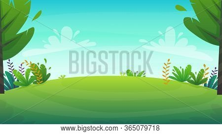 Grass Glade Lawn In The Forest Background, Joyful Bright Kids Green Field, Cartoon Style Hill Summer