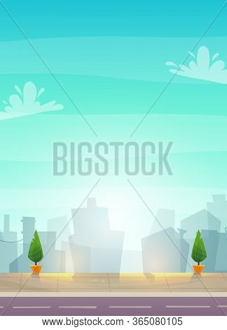 Street View Cityscape Panorama Of Town. Bright Colorful Happy Cartoon Style Background Wide Or Poste
