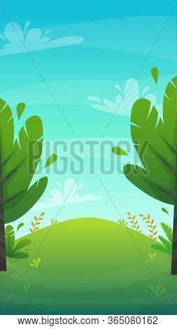 Grass Glade Lawn In The Forest Background, Joyful Bright Kids Green Field, Cartoon Style Hill Summer