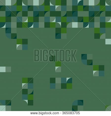 Multicolored Background With Border And Falling Squares And Rectangles. Mosaic Of Geometric Shapes.